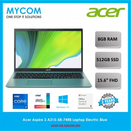 Acer Aspire 3 A315-58-74RB Laptop Electric Blue (i7-1165G7, 8GB, 512GB SSD, Intel Iris Xe Graphics, W10, HS)